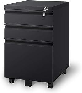 DEVAISE 3 Drawer Metal File Cabinet, Locking Filing Cabinet on Wheels, Black