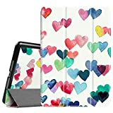 """Fintie iPad 9.7 Inch 2017 Case - Lightweight Slim Shell Standing Cover with Auto Wake / Sleep Feature for Apple iPad 9.7"""" 2017 Release Tablet, Raining Hearts"""