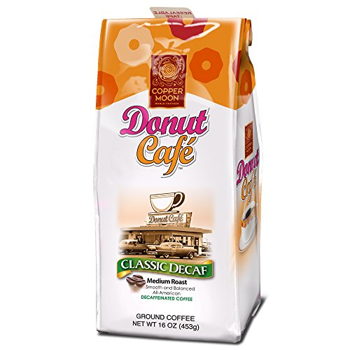 Copper Moon Donut Cafe Ground Coffee, Classic Decaf Blend Medium Roast, 16-Ounce Bag (Cooper Ground)