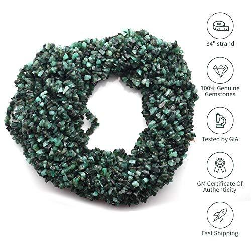 Natural Gemstone Chip Beads Free Form Shape, 1 Strand of 34 Choose Your Gemstone by GemmartUsa (Emerald)