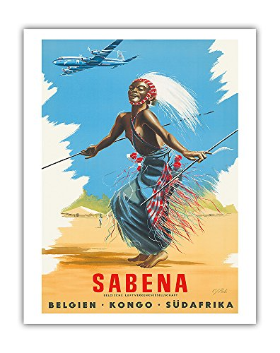 Belgien Kongo Sudafrika (Belgium Congo South Africa) - Sabena Airlines - African Tribal Dancer - Vintage Airline Travel Poster by CJ Pub c.1950s - Fine Art Print - 11in x 14in