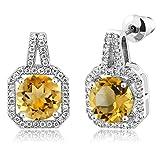 3.91 Ct Round Yellow Citrine Rhodium Plated Brass Gemstone Double Halo Earrings