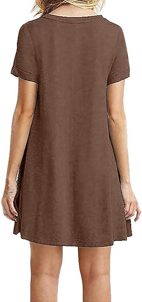 chuxin huang/_dress Womens Summer Casual Short Sleeve Dress Printed Swing Dress T-Shirt Dress Sundress