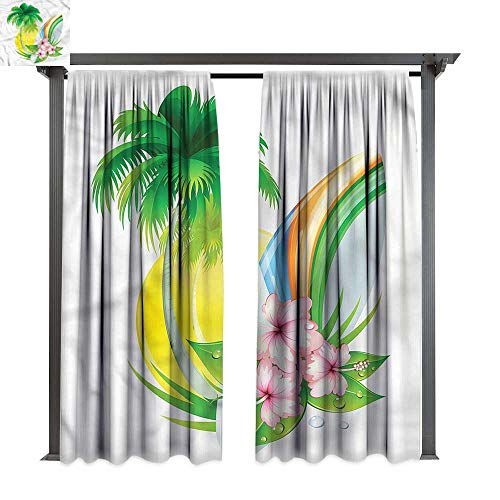 - cobeDecor Outdoor Curtain Surf Summer Season and Longboard for Lawn & Garden, Water & Wind Proof W108 xL72