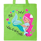 Inktastic - Be My Valentine-Mermaid with dolphin Tote Bag Lime Green 2e44c