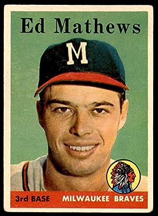 Amazoncom 1958 Topps 440 Eddie Mathews Milwaukee Braves