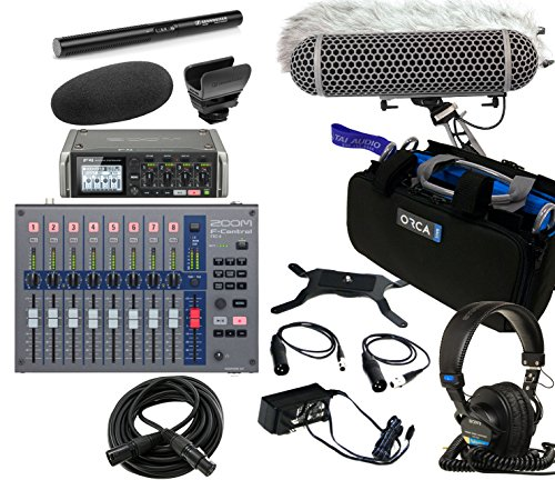 Zoom F4 Field Recorder & Sennheiser MKE600 Shotgun Mic Bundle with Zoom F-Control Mixing Surface, Orca OR-27 Mixer Bag, Rode Blimp Windshield Kit, Sony MDR7506 Headphones & 6' XLR Cable