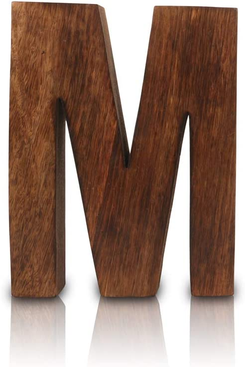 """8"""" Decorative Solid Block Wooden Letters Alphabets Words Natural Finished Wood Freestanding Shelf or Tableware Childrens Baby Names Initials For Bedroom Wedding Birthday Party Home Decor (Letter M)"""