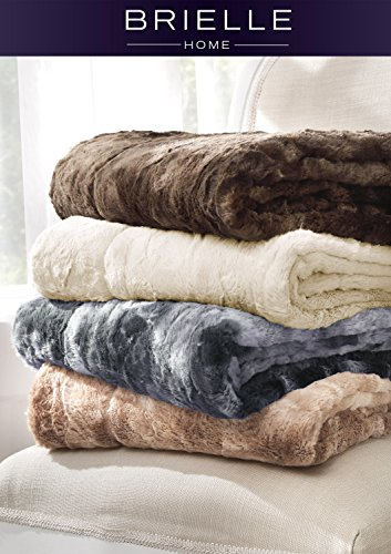 Brielle Faux Fur Oversized Throw, 50' by 70', Tundra Swan Dark Brown