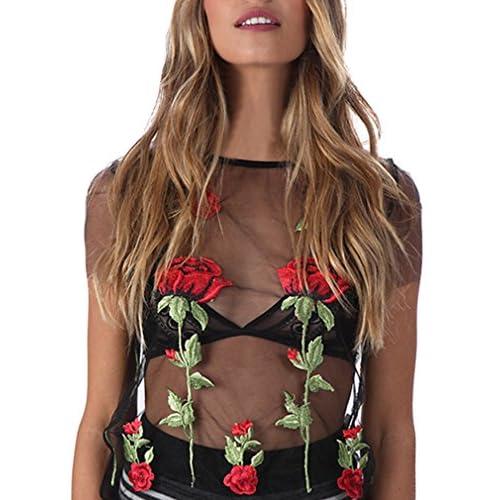 c2a48a215a874 hot sale 2017 Hikong Camiseta de Mujer Verano Crop Tops de Malla  Transparente Mangas Cortas Flor