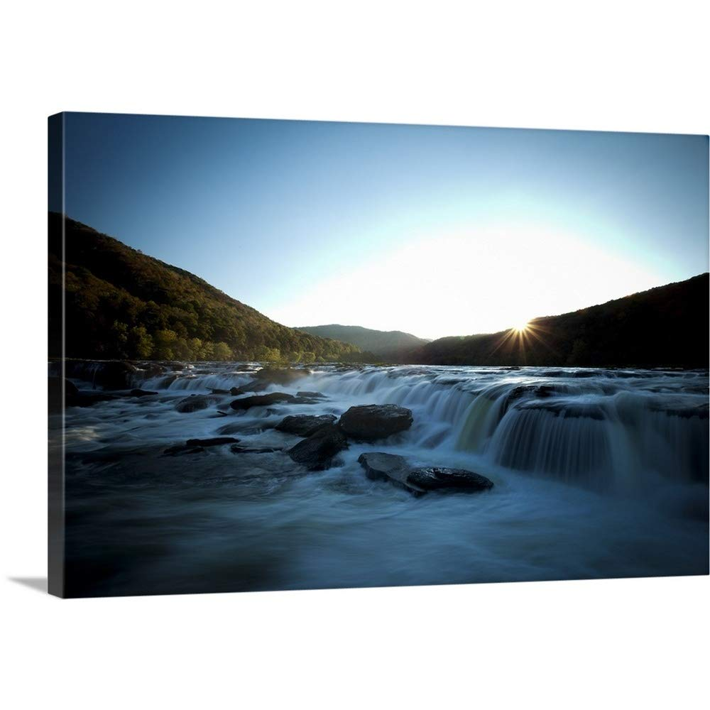 Gallery-Wrapped Canvas Entitled Wide Waterfall seen in Evening Light Blurry Water Great Big Canvas 24''x16''