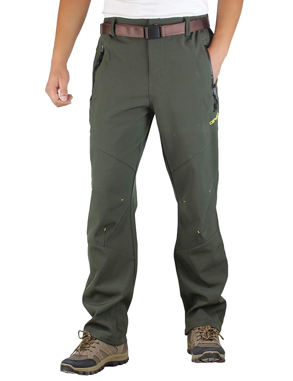 Rexcyril Mens Windproof Waterproof Soft Shell Fleece Lined Pants Outdoor Hiking Snow Ski Pants with Belt