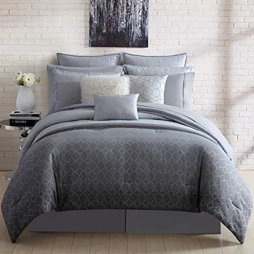Nikki Chu 4 Piece Lyon Comforter Set, King, Includes Bed Skirt & 2 Pillow Shams, Silver (Lyon Bed)