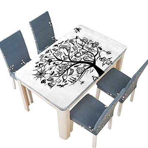 PINAFORE Spillproof Fabric Tablecloth Collection Sketch Style Halloween