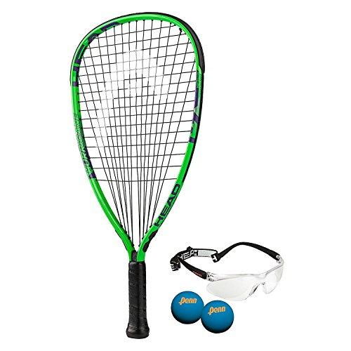 HEAD MX Hurricane Pack - Beginners Pre-Strung Racquetball Racket Set w/ Goggles & Two Balls