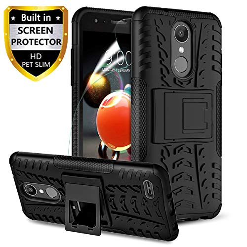 RioGree for LG Aristo 2 Case, for LG Aristo 2 Plus/Zone 4 /Tribute Dynasty/Phoenix 4/Fortune 2/Rebel 4 LTE/Risio 3/K8 2018/ K8+/K8 Plus Phone Case, with Screen Protector Kickstand Cover Skin, Black