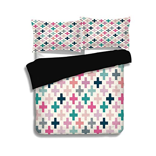 SINOVAL Black Duvet Cover Set Twin Size,Teal and White,Colorful Cross Shapes Dotted Design Hipster Feminine Girls Fun Art Graphic,Multicolor,Decorative 3 Pcs Bedding Set