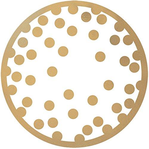 Polka Dot Party Coasters - Amscam Party Supplies  Gold Confetti Dots Coaster | 18 Pieces