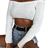 Spbamboo Women Casual Off-shoulder Solid Panel Long Sleeve Chic Crop Top Blouse