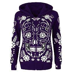 Photno Hoodies Womens Winter Skull Print Zipper Hooded Coat Jacket Pullover Sweatshirt Outwear Plus Size Purple