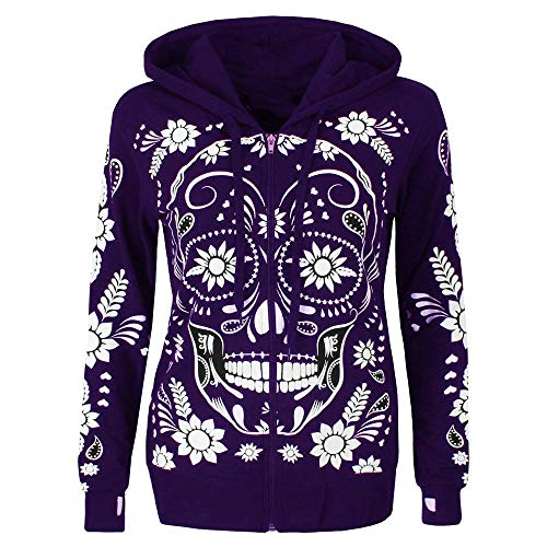 Silk Print Coat (URIBAKE ❤ Women's Hooded Coat Autumn Winter Skull Print Plus Size Long Sleeve Zipper Blouse Pullover Tops Shirt)