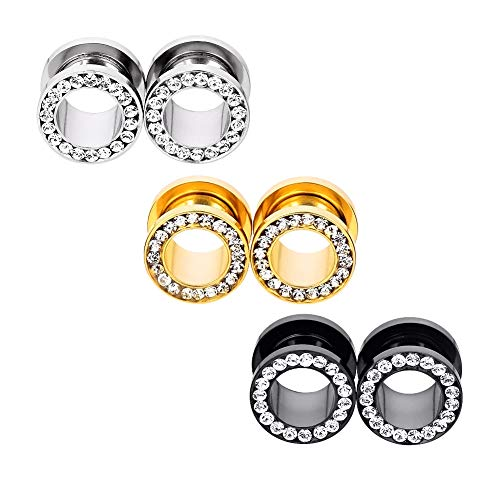 6pcs Stainless Steel Black Silver Rosegold Clear Crystal Gems Screw Back Ear Tunnels Gauges 12mm
