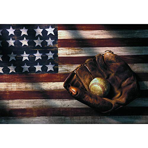 UPMALL DIY 5D Diamond Painting by Number Kits,Full Drill Crystal Rhinestone Embroidery Pictures Arts Craft for Home Wall Decoration Baseball & American Flag 17.7×11.8Inches