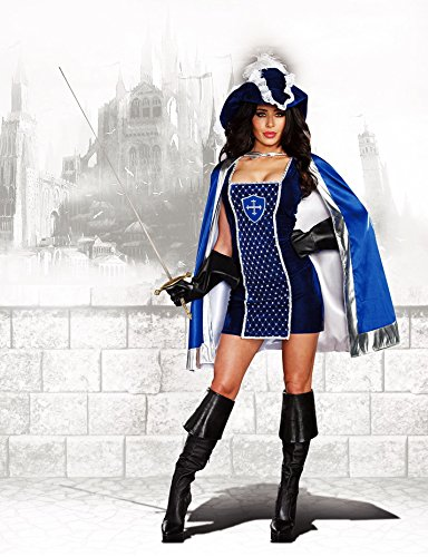 Dreamgirl Women's Mighty Musketeer French Conqueror Warrior Costume, Blue, Halloween