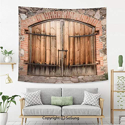 SoSung Rustic Wall Tapestry,Wooden Door of a Stone House with Wrought Iron Elements Tuscany Architecture Photo,Bedroom Living Room Dorm Wall Hanging,92X70 Inches,Brown Grey