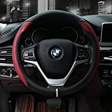 Valleycomfy Microfiber Leather Steering Wheel Covers Universal 15 inch (Style2-Red)