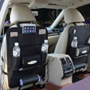 M'Baby PU Leather Backseat Car Organizer Seat Pocket Protector Storage for Ipad Mini, Iphone, Cup Holder, Toy, Umbrella, Tissue Box (1pc)