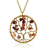 Gold-Plated Brass Tree of Life Gemstone Beads Pendant Necklace, 30 inches