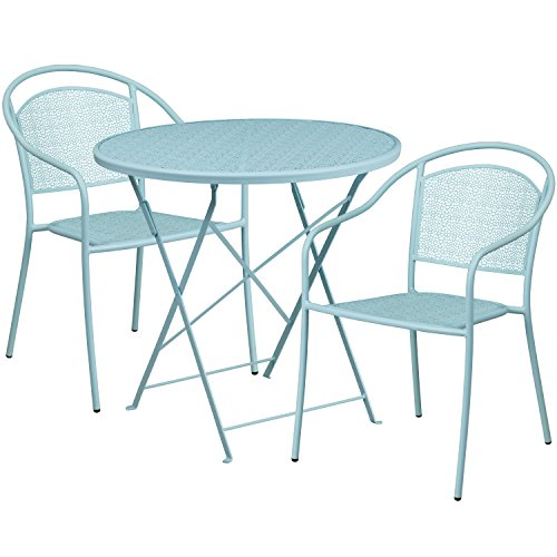 Flash Furniture 30'' Round Sky Blue Indoor-Outdoor Steel Folding Patio Table Set with 2 Round Back Chairs (30' Bistro Set)