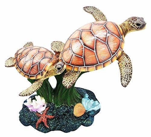 Coral Figurine - Ocean Giant Sea Turtle Family Swimming Around Corals Decorative Figurine