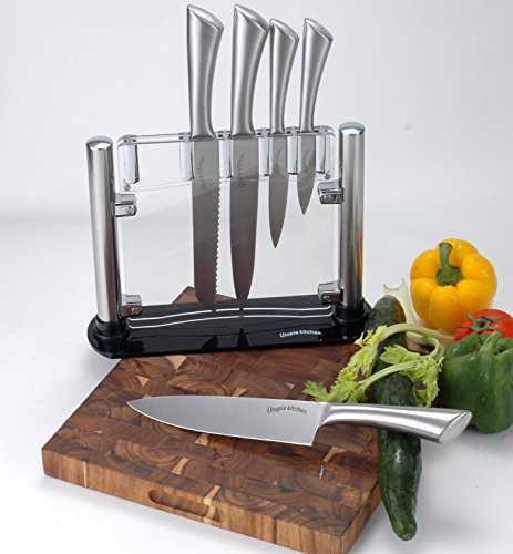 Premium Class Stainless Steel Kitchen 6 Piece Knives Set (5 Knives plus an Acrylic Stand) - by Utopia Kitchen 6 Made from 420 grade stainless steel Includes 8-inch chef knife with 2.5 mm blade thickness; 8-inch bread knife with 2.5 mm blade thickness; 8-inch carving knife with 2.5 mm blade thickness; 5-inch utility knife with 2.5 mm blade thickness; 3.5-inchparing knife with 2 mm blade thickness and an acrylic stand for convenient storing of the knives These knives are a solid one piece stainless steel design so you don't have to worry about handles falling off