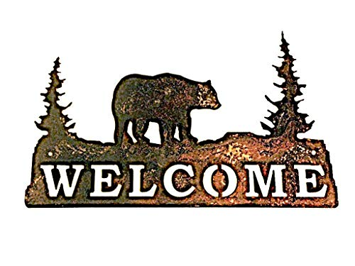 """Welcome Sign Rusted Rustic Metal Grizzly Bear with Trees 14.5"""" w X 9"""" h"""