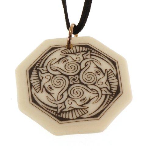 UNYKTOUCH Handmade Celtic Cerridwen Goddess of Nature Octagon Porcelain Pendant (on Black Cord) ()