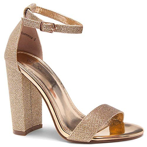 Herstyle Rosemmina Womens Open Toe Ankle Strap Chunky Block High Heel Dress Party Pump Sandals Rose Gold Shimmer 9.0 Chunky Heel Dress Sandals