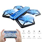 GEEDIAR JJRC H43WH Mini RC Drone, Foldable Quadcopter Drone with WIFI FPV 720P HD Camera, Support APP Control, Headless Mode, G-sensor Mode, Altitude Hold RC Quadcopter (Blue)