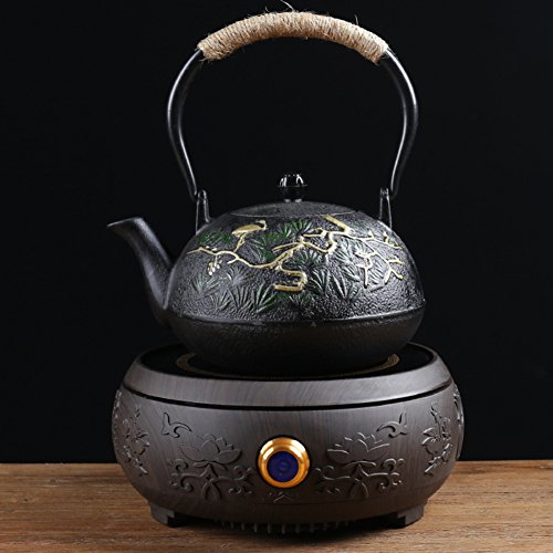 AMCER Japanese Style Cast Iron Kettle Set Black Handmade Teapot Kettle And Black Crystal Panel Electric Ceramic Stove,J