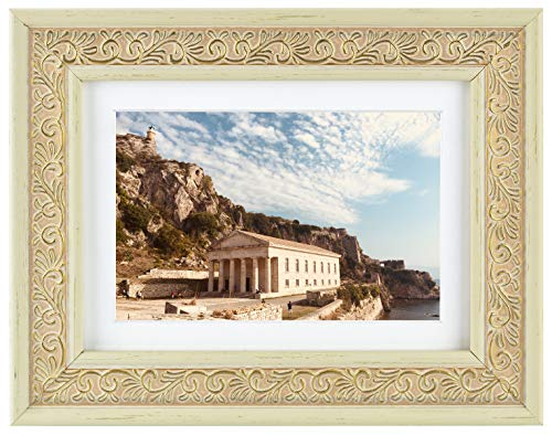 Golden State Art 5x7 Ornate Cream Color Frame - White Mat for 4x6 Picture - Easel Stand, Sawtooth Hanger - Landscape, Portrait Display - Great for Presents, Pictures
