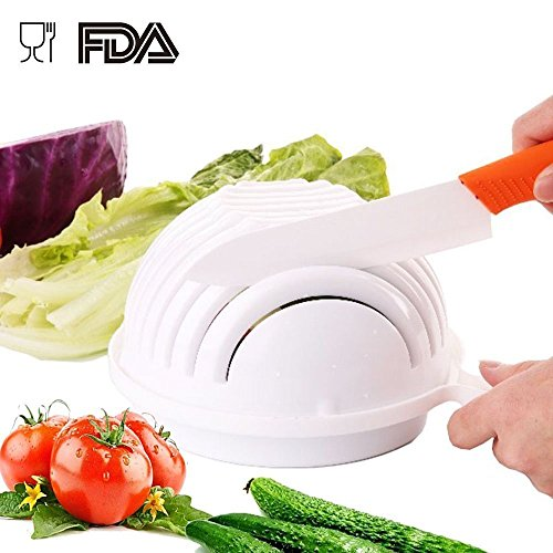 60 Second Salad Maker, Perfect Salad Cutter and Chopper, Vegetable Cutter Bowl Made of Food Grade Plastic, Practical Fast and Easy to (Slit Fit Cam)