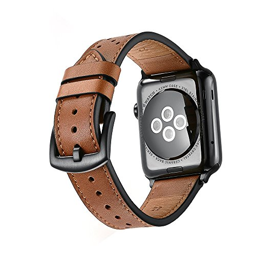 Mifa - Apple Watch band Leather 42mm Bands iwatch series 1 2 3 Replacement strap dressy classic buckle vintage case Band with Black Stainless Steel Adapters (42mm, - Leather Team Color