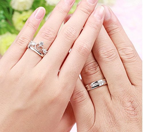 Favori Gowe Or blanc 18 K véritable Couple Anneaux pour les amoureux de  ZS37