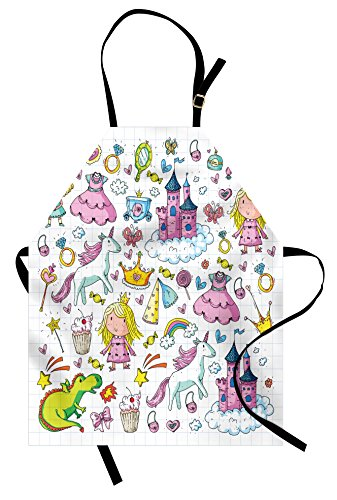 Ambesonne Princess Apron, Bundle of Girls Kids Composition Fairytale Fantasy Characters Castles Accessories, Unisex Kitchen Bib Apron with Adjustable Neck for Cooking Baking Gardening, -