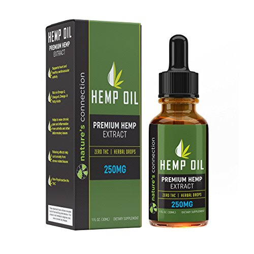 Hemp Oil Extract (1 FL OZ) - Premium Formula - Promotes Cardiovascular Health - Encourages Relaxation - Contains Omega 3 & 6 Fatty Acids - One Month Supply - Sans CBD - Natures Connection