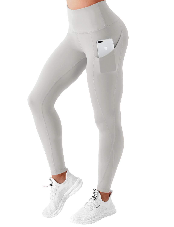 BUBBLELIME High Compression Yoga Pants Out Pocket Running Pants High Waist Moisture Wicking Yoga Leggings, Bwwb010 Lightgray, Small