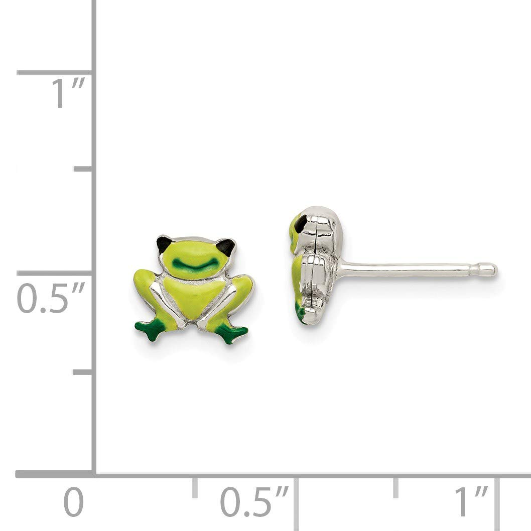 Sterling Silver Polished Enamel Frog Childs Post Earrings