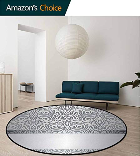 - Silver Round Area Rugs Super Soft Living Room,Baroque Damask Curves Rococo Style Motifs Floral Renaissance Revival Design Bedroom Home Shaggy Carpet Round-59 Inch,Grey Pale Grey