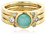 Michael Kors Brilliance Easy Opulence Gold-Tone, Blue Mountain Jade and Crystal Stackable Ring, Size 6